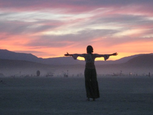 Sunset at Burning Man, on the Black Rock Playa, Black Rock City, Nevada, NV