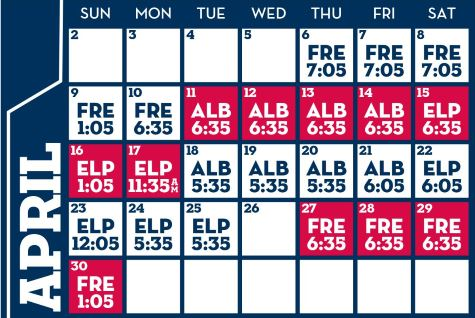 Reno Aces baseball game schedule - April, 2017