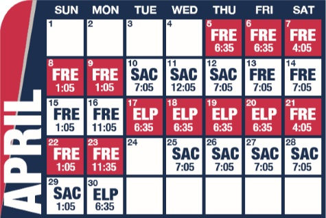 Reno Aces baseball game schedule - April, 2018