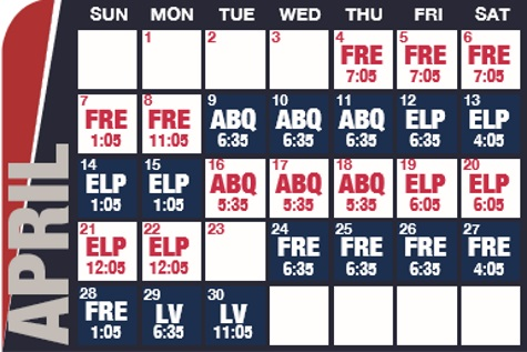 Reno Aces baseball game schedule - April, 2019