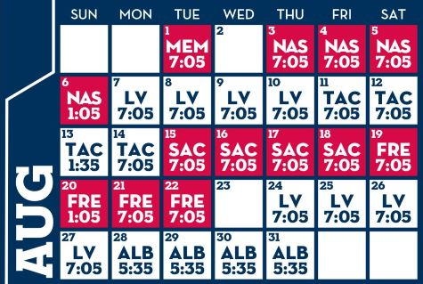 Reno Aces baseball game schedule - August, 2017