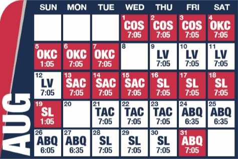 Reno Aces baseball game schedule - August, 2018