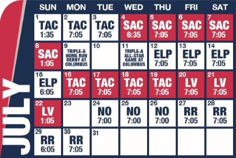 Reno Aces baseball game schedule - July, 2018