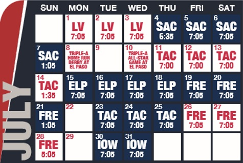 Reno Aces baseball game schedule - July, 2019