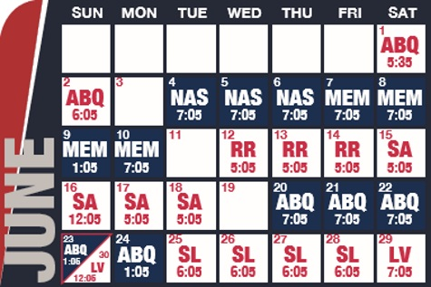 Reno Aces baseball game schedule - June, 2019