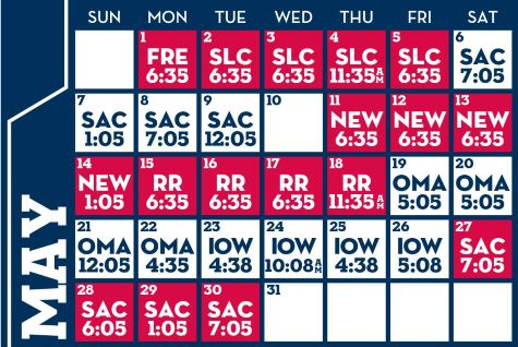 Reno Aces baseball game schedule - May, 2017