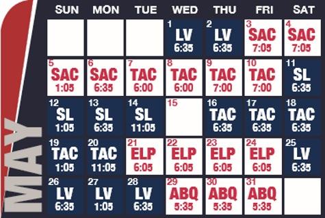 Reno Aces baseball game schedule - May, 2019