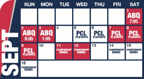 Reno Aces baseball game schedule - September, 2018