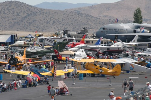 military aircraft displays at the Reno Air Races. Photo © Stan White