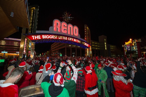 Reno Santa Pub Crawl, downtown Reno, Nevada, NV