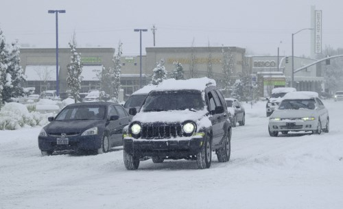 Driving during a snow storm in Reno, Nevada