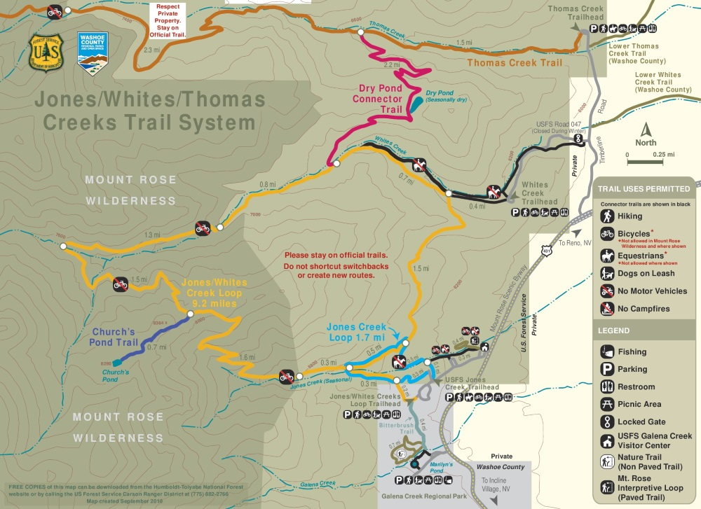 Hiking Trails Map Thomas Creek Whites Creek Dry Pond Reno - Map of nv