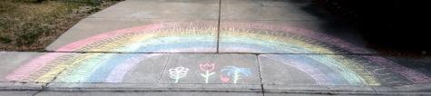 Sidewalk chalk rainbow, Reno, Nevada, NV