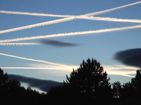 Contrails in the sky over Reno, Nevada, NV