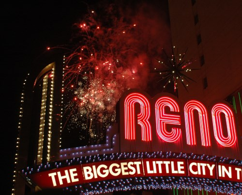 New Year's fireworks in downtown Reno, Nevada
