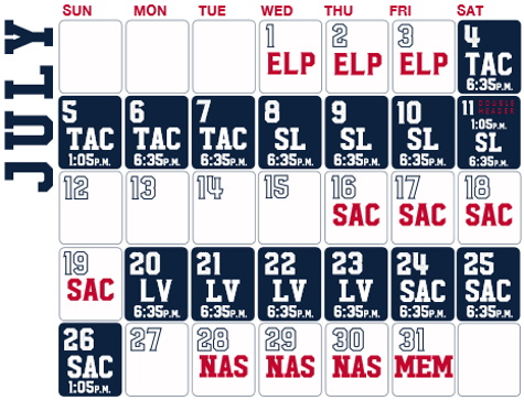 Reno Aces baseball game schedule - July, 2020