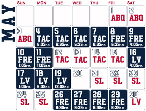 Reno Aces baseball game schedule - May, 2020