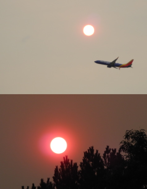 Sunset, wildfire smoke, Reno, Nevada, NV