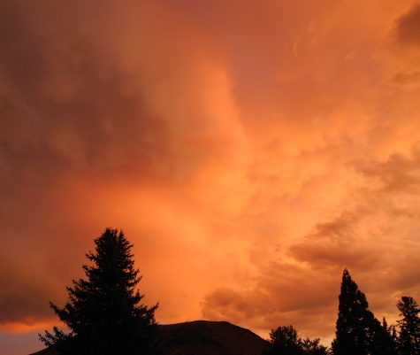 Sunset with thunderstorm clouds, Reno, Nevada, NV