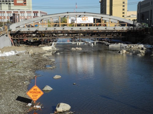Virginia Street Bridge new arches in place across the Truckee River, Reno, Nevada
